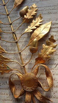 French mercury-gilded bronze award embellishment with acorn and oak leaf motif. Touch Of Gold, Grey And Gold, Acorn And Oak, Spiritus, Oak Leaves, Autumn Leaves, Laurel Wreath, Shades Of Gold, Alphonse Mucha