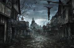 Dark Fantasy Wallpaper from DDarkness. Fantasy World Dark Fantasy Art, Fantasy Anime, Fantasy City, Fantasy Places, Fantasy Kunst, Fantasy Village, Fantasy House, Gothic Horror, Arte Horror