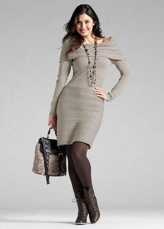 Vestido de tricô marrom-acinzentado encomendar agora na loja on-line bonprix.de  R$ 94,90 a partir de Mix de tricô com elegância feminina! Lindo vestido de ...
