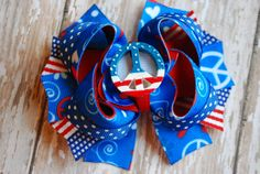 Peace Love and USA Boutique Bow by ChloeChicBowtique on Etsy