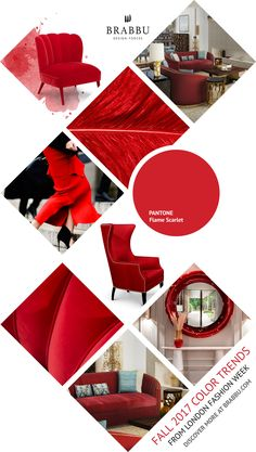 Fall 2017 Color Trends From London Fashion Week: Flame Scarlet | Interior Design Inspiration @Pantone #colortrends #falltrends #colors See more inspiration: https://www.brabbu.com/moodboards/