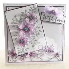 Stamps by Chloe Fabulous Flower Panel and Fabulous Flower Border Flower Birthday Cards, Handmade Birthday Cards, Birthday Wishes, Birthday Parties, Butterfly Cards, Flower Cards, Chloes Creative Cards, Stamps By Chloe, Poinsettia Cards