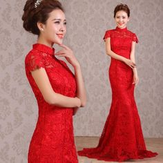 Red lace mermaid cheongsam dress SCL13 - Custom-made Cheongsam,Chinese clothes, Qipao, Chinese Dresses, chinese clothing,EFU Tailor Shop