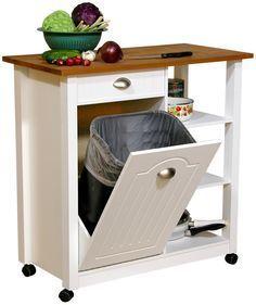Mobile Kitchen Island Trash Bin w 3 Shelf Pantry