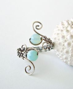 Peruvian Opal Wire Ring, Aqua Wire Wrapped Ring, Adjustable,