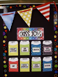 using pockets for classroom jobs--this would be a little less crazy compared to my busy bee chart that i have had to add to all year...