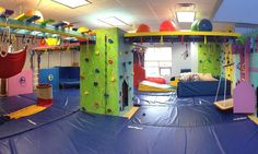 Swings, zip lines, a rock wall and quiet nooks are designed to help children with sensory challenges. Explore a new feature at this therapy resource.