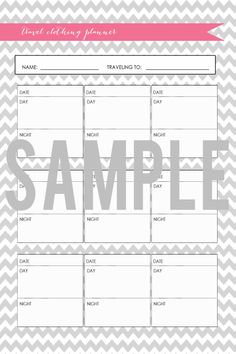 Homekeeping Binder Travel Clothing Planner Printable | Chevron Series
