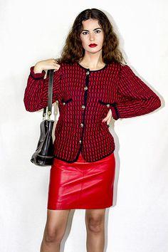 Chaqueta vintage de cuadros tipo Chanel. 80's. Pura lana.