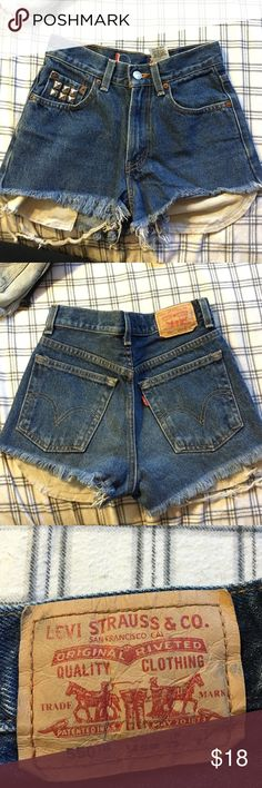 Levi's high waisted shorts Blue jean high waisted Levi's with studded pocket. Size 00 or 0 Levi's Shorts Jean Shorts