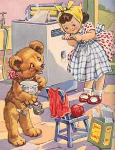 Illustration by A. Kennedy for 'Teddy's Busy Morning' in the Little Folks' Annual Happy Birthday Vintage, Vintage Valentines, Vintage Pictures, Vintage Images, Teddy Bear Cartoon, Children's Book Illustration, Book Illustrations, Antique Teddy Bears, Retro Kids