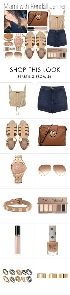 """""""Miami with Kendall Jenner"""" by plnzh ❤ liked on Polyvore featuring Miss Selfridge, Topshop, ASOS, Michael Kors, Versace, Valentino, Urban Decay and Revlon"""