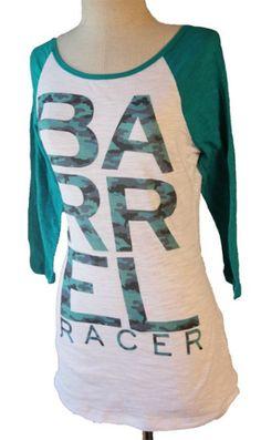 8b2e05e1 Barrel Racer Green Camo Baseball Burnout Tee by Orginal Cowgirl Clothing Co.