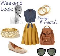 """Weekend Look: Denim & Pearls"" by ashley-pearman on Polyvore"