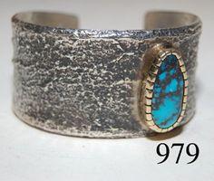HOPI BRACELET circa 1980s, sand cast silver, 18k gold bezel, Bisbee turquoise
