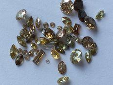 Lot diamant 4.60 kt - 46 stuks - SI-VS - geel en bruin tinten