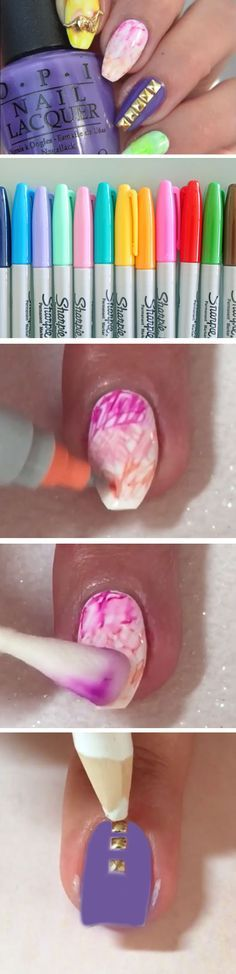 sharpie watercolor nails tutorial - Google Search