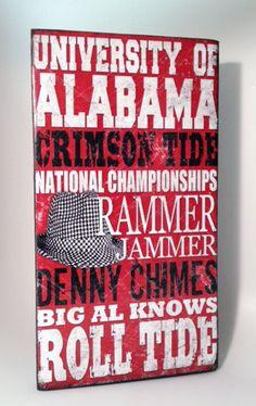 University of Alabama Wood Sign-Crimson Tide. $25.00, via Etsy.