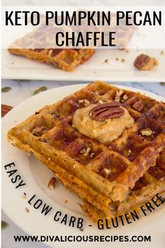 Pecan Chaffle A quick and easy low carb dessert made in a waffle maker. Flavours of pumpkin, spices and pecan in a low carb waffle! A quick and easy low carb dessert made in a waffle maker. Flavours of pumpkin, spices and pecan in a low carb waffle! Low Carb Waffles, Low Carb Bread, Low Carb Keto, Keto Bread, Desserts Keto, Keto Friendly Desserts, Dessert Recipes, Waffle Desserts, Baking Recipes