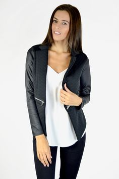 Black Quilted Leatherette Blazer | Women's Clothing | Need That Look #NeedThatLook NYE Black Blazers, Blazers For Women, Suits For Women, Jackets For Women, Clothes For Women, White Stuff Uk, Blazer Jacket, Leather Jacket, Black Quilt