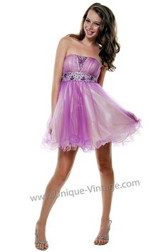 Girly Purple & Ivory Short Beaded Tulle Prom Dress - Unique Vintage - Prom dresses, retro dresses, retro swimsuits.