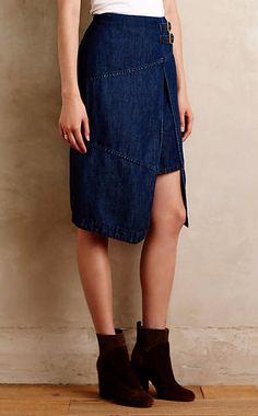 Denim Wrap Skirt #anthropologie