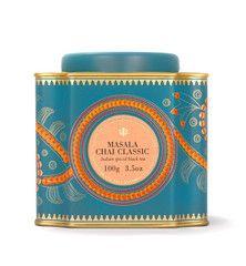 Sloane Tea Company Masala Chai Classic tea tin, with Indian motifs in orange and gold on turquoise, c. 2014, Canada