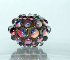 Handmade berry focal glass bead in the Wild Berries collection.   The collection is a beautiful blend of blackberries with bursts of bilberry blue, re