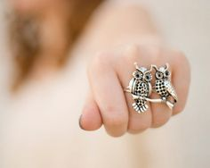 Double Finger Ring - Silver Owls Jewelry Knuckle Duster Ring Two Finger Ring Owl Ring