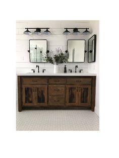 Rustic Bathroom Vanity - Dual Sink, Reclaimed Barn Wood w/Paneled Doors Rustic Vanity - Dual Sink, Reclaimed Barn Wood w/Paneled Doors (Unfinished) Rustic Vanity, Rustic Bathroom Vanities, Modern Bathroom, Bathroom Ideas, Barn Bathroom, Bathroom Organization, Bathroom Doors, Remodel Bathroom, Minimal Bathroom