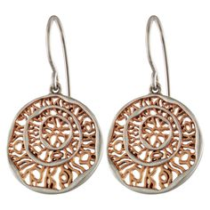 Coin w/Cut-Out Root Design Earring Rose Gold Plated & Rhodium