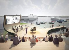Haparandadam is the winning proposal by NL Architects for a cultural facility in Houthavens West meant to improve the attractiveness of the area to the public b Outdoor Stage, Outdoor Cinema, Outdoor Theater, Cinema Architecture, Water Architecture, Architecture Diagrams, Architecture Portfolio, Public Space Design, Urban Planning