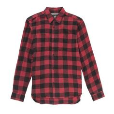 Red Black Flannel Checkered Shirt ($21) ❤ liked on Polyvore featuring men's fashion, men's clothing, men's shirts, men's casual shirts, mens casual button down shirts, mens red flannel shirt, men's spread collar dress shirts and mens red shirt