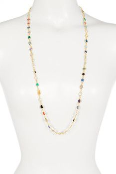 Gold Plated Sterling Silver Multi Gemstone Station Necklace