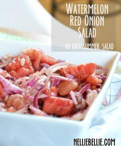 Watermelon Red Onion Salad: an easy and healthy summer salad!  Use Splenda or stevia instead of sugar.