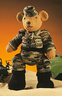 General Bear  Click here for larger image.    With the look of a true soldier, General Bear stands an impressive 16 inches tall and is crocheted using worsted-weight yarn. Regardless of his rank, your favorite soldier is certain to adore this friendly character.    Designed by Michele Wilcox