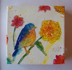 Eastern Bluebird Original Painting Art Home by thebluewindmill, $55.00