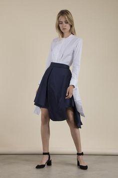 Palmer//Harding - Wrap Cuff Poplin Shirt Draping Techniques, Palmer Harding, Pattern Cutting, Poplin, Branding Design, High Waisted Skirt, Skirts, Collection, Fashion