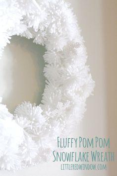 DIY Fluffy Snowflake Pom Pom Wreath   littleredwindow.com    Make a soft fluffy and easy snowflake wreath from pom poms!