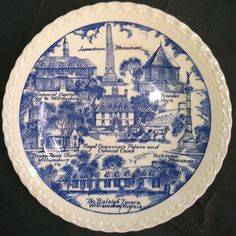 Obverse, Vernon Kilns Souvenir Plate, Williamsburg, VA (Blue), note variations in border compared to brown. 1.45 on 5/17/13.
