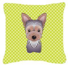 Checkerboard Yorkie Puppy Indoor/Outdoor Throw Pillow