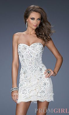 PERFECT reception dress! Super sexy. Short Strapless La Femme Dress 20054 at PromGirl.com