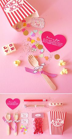 """DIY Valentine Popcorn Invitation for a cozy night in .OR cover the word """"valentine"""" and use ANYtime for a date night at home Valentines Day Decorations, Valentine Day Crafts, Be My Valentine, Holiday Crafts, Holiday Fun, Printable Valentine, Homemade Valentines, Valentine Wreath, Valentine Ideas"""