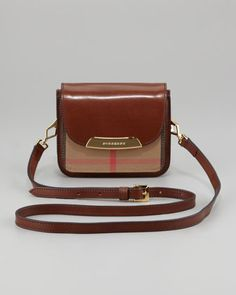 Check Small Crossbody Bag, Dark Tan by Burberry at Neiman Marcus.