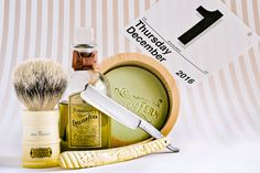"Penhaligon's English fern shave soap and vintage cologne, Simpson Milk Churn badger brush, Torrey 5/8"" straight razor, December 1, 2016.  ©Sarimento1"