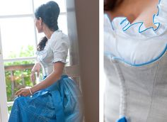dirndl ausschnitt - I like that the bodice and skirt are different :) I have enough fabric to make a top piece, but not the skirt, so this tells me I can do a coordinating skirt rather than having to match :)