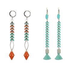 Avec une petite chaîne colorée, réalisez des B.O. et une bague aux couleurs printanières. C'est très simple et ça donne envie !!! #ladroguerie #bijoux