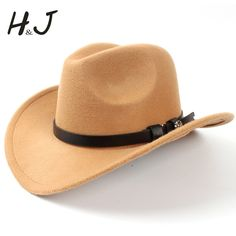 Fashion Wool Women's Felt Western Cowboy Hat For Elegant Lady Jazz Cowgirl Sombrero Caps ( Size:57cm/US 7 1/8) A20 #other #Cowboy_Hats #women_clothing #stylish_Cowboy_Hats #style #fashion