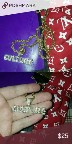 Iced out CULTURE pendant w rope chain BRAND NEW NEVER WORN Iced out pedant made w CZ lab diamonds Comes w rope chain Gld Supply Accessories Jewelry