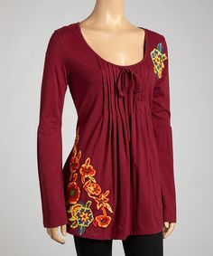 Take a look at this Burgundy Flower Pleated Peasant Top - Women by Bella Carra on #zulily today! $38 !!